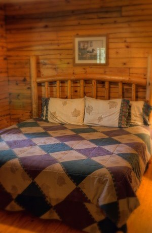 bed with wooden frame
