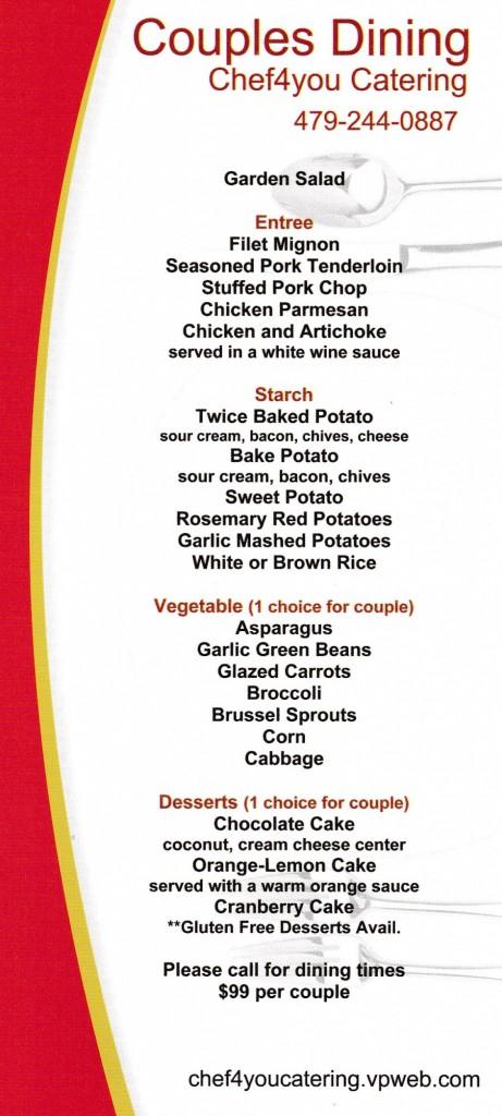 personal chef menu