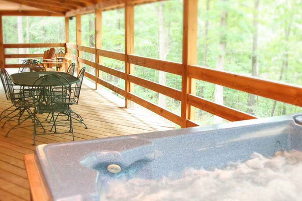 Two Story Cabin Hot Tub