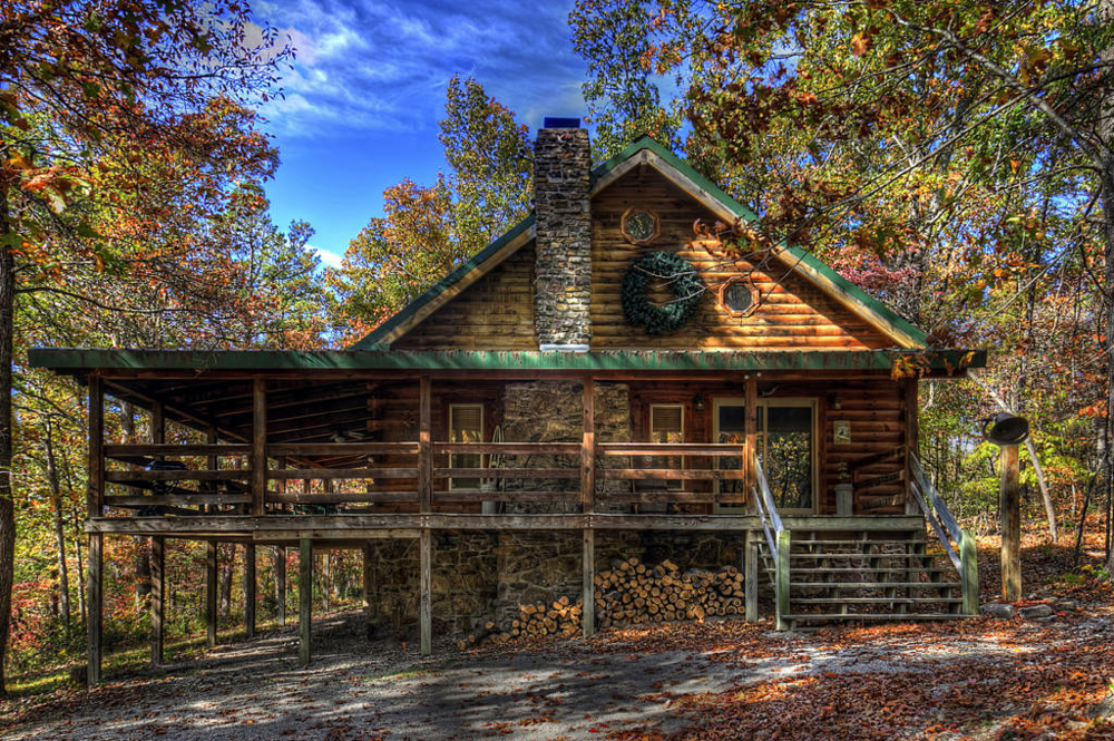 Two Story Log Cabin Exterior